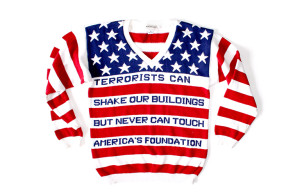 USA Flag Patriotic American 9-11 Anti-Terrorist Tacky Ugly Sweater Women's Size Medium (M)