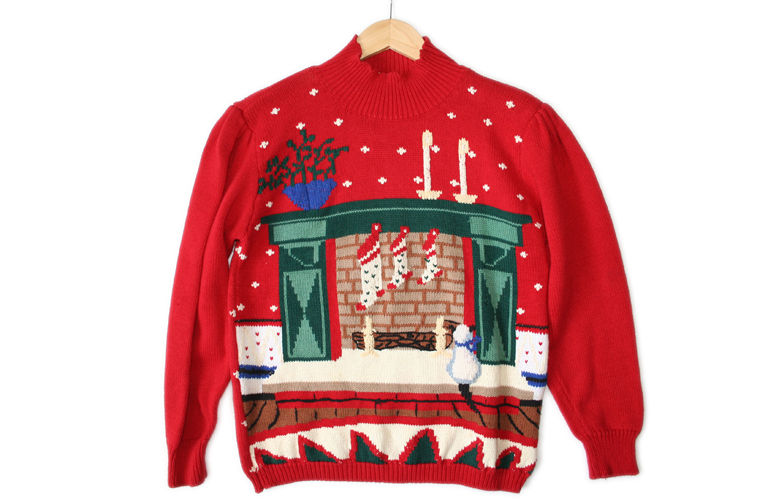 Kitty Cat Fireplace Tacky Ugly Christmas Sweater Women 39 S Size Medium M The Ugly Sweater Shop