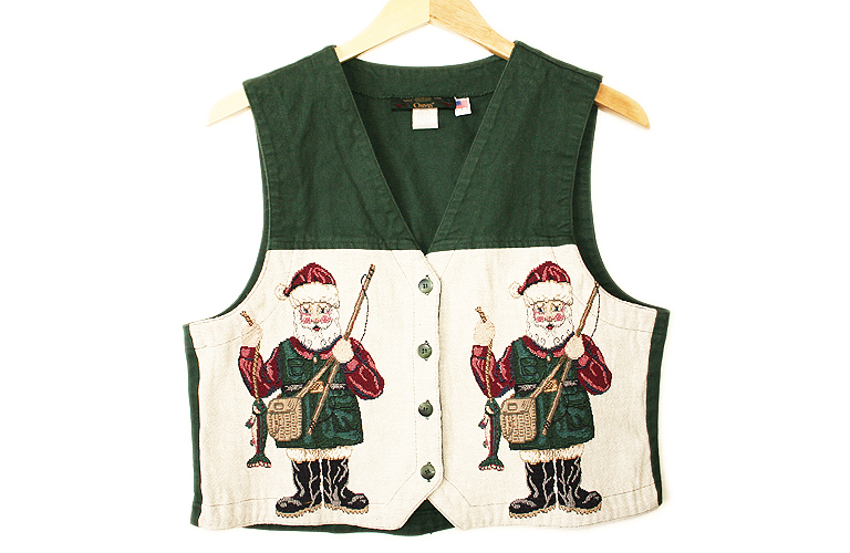 Santa 39 s gone fishing tacky ugly christmas vest women 39 s for Fishing ugly christmas sweater