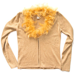 Big Bird Was Here Tacky Ugly Sweater Feather Boa Sparkle Cardigan Women's Size Medium (M)