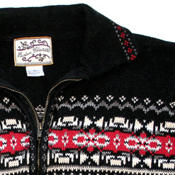 Black & Red Nordic Pattern Zip Front Ugly Ski Sweater:Cardigan Women's Size Medium (M)