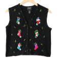 Christmas Stockings Tacky Ugly Sweater Vest Women's Petite Size Large (PL)