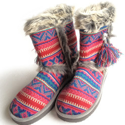 """Cierra"" Ugly Sweater Nordic Knit Mukluk Slippers"