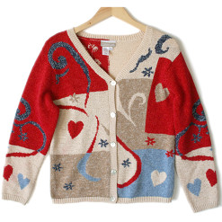 Coldwater Creek Valentine Hearts Tacky Ugly Sweater Women's Size Small:Medium (S:M)