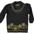Floral Big Collar Beaded Embellished Tacky Ugly Gem Sweater Women's Size M