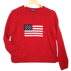 Fourth of July Independence Day Patriotic USA Flag Tacky Ugly Sweater Women's Size Medium (M)
