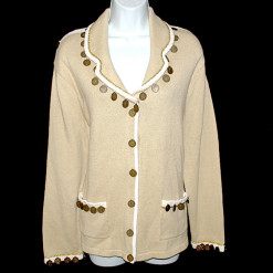 """Gold Fortune"" Storybook Knits Tacky Ugly Coin Sweater:Cardigan Women's Size Small (S) Brand New!"