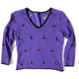 """Gone Batty"" Purple Bat : Halloween Tacky Ugly Sweater Women's Size Small (S) 1"