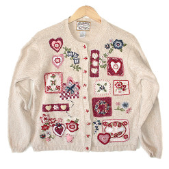 Hearts Doves and Butterfly Tacky Ugly Valentines Sweater Women's Size Large (L)