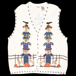 """If I Only Had A Brain"" Fall Scarecrow Tacky Ugly Sweater Vest Women's Plus Size 26W:28W"