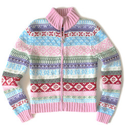 Pink Zip Front Nordic Ugly Ski Sweater Girl's Size Medium (M)