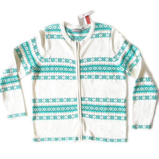 Teal, Turquoise and White Tacky Ugly Ski Sweater:Cardigan Women's Size Large (L) – Brand new!