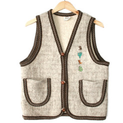 Western Cactus and Cowboy Boots Tacky Ugly Sweater Vest Women's Size Medium:Large (M:L)
