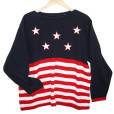 Oversized Boat Neck 4th of July Patriotic USA Flag Ugly Sweater 2