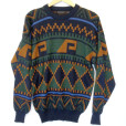 Vintage 80s Green & Orange Aztec Tribal Cosby Sweater