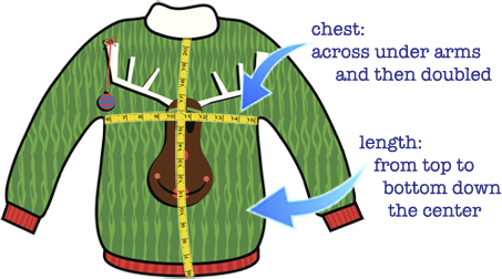 ugly sweater measuring guide