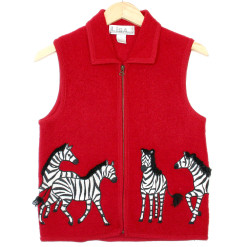Black & White & Red All Over Tacky Ugly Zebra Vest