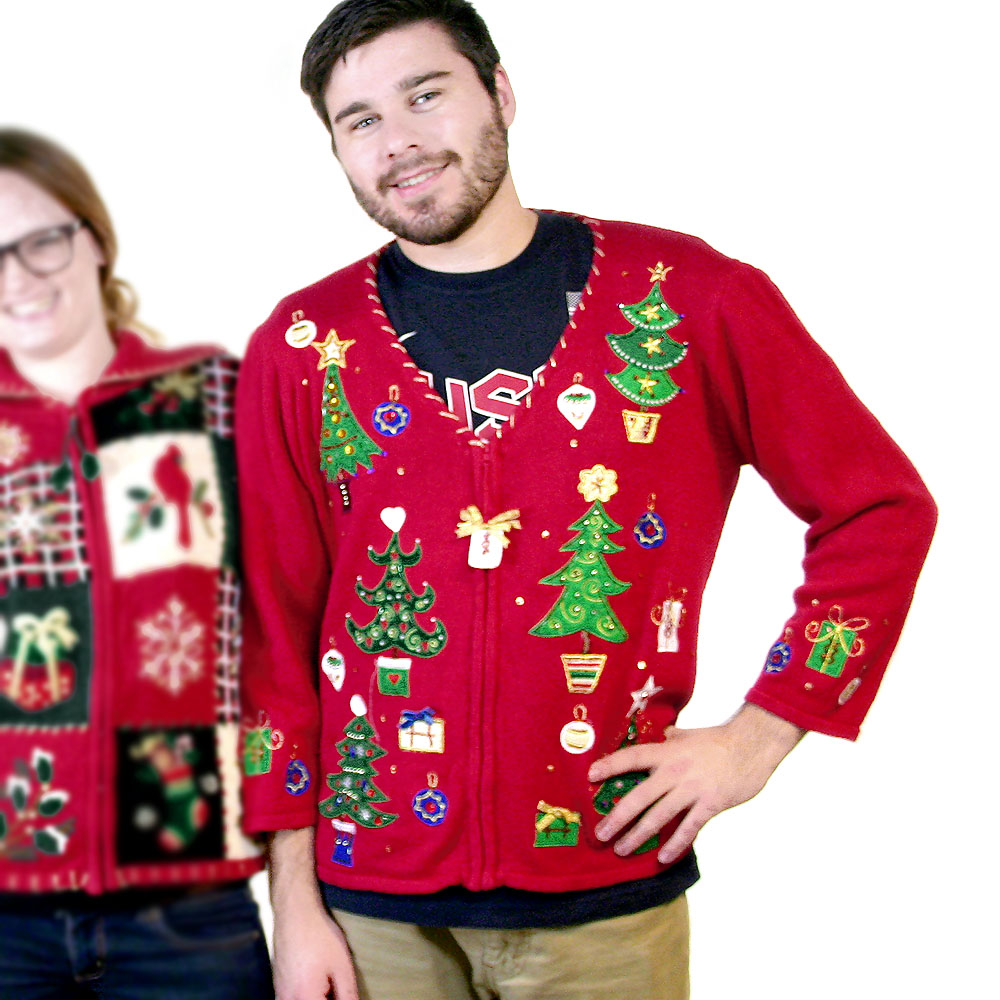 Channel your 80's mom Christmas sweater spirit! 3D Christmas Tree holiday sweater, a bow or two missing from the tree and some remaining bows could use .