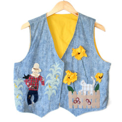 Scarecrow and Sunflower Denim Ugly Halloween Vest