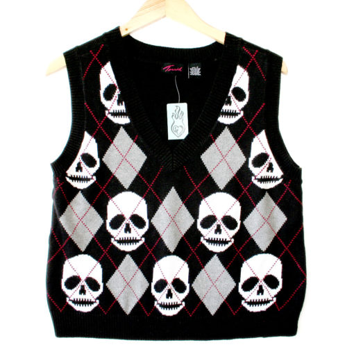 Torrid Argyle Skull Halloween Ugly Sweater Vest