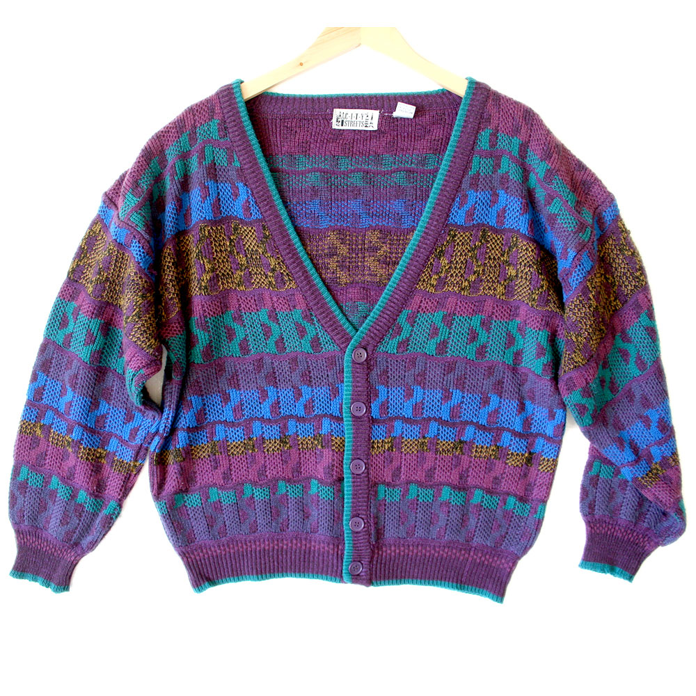 Vintage 80s Purple Cosby Cardigan Ugly Sweater - The Ugly ...