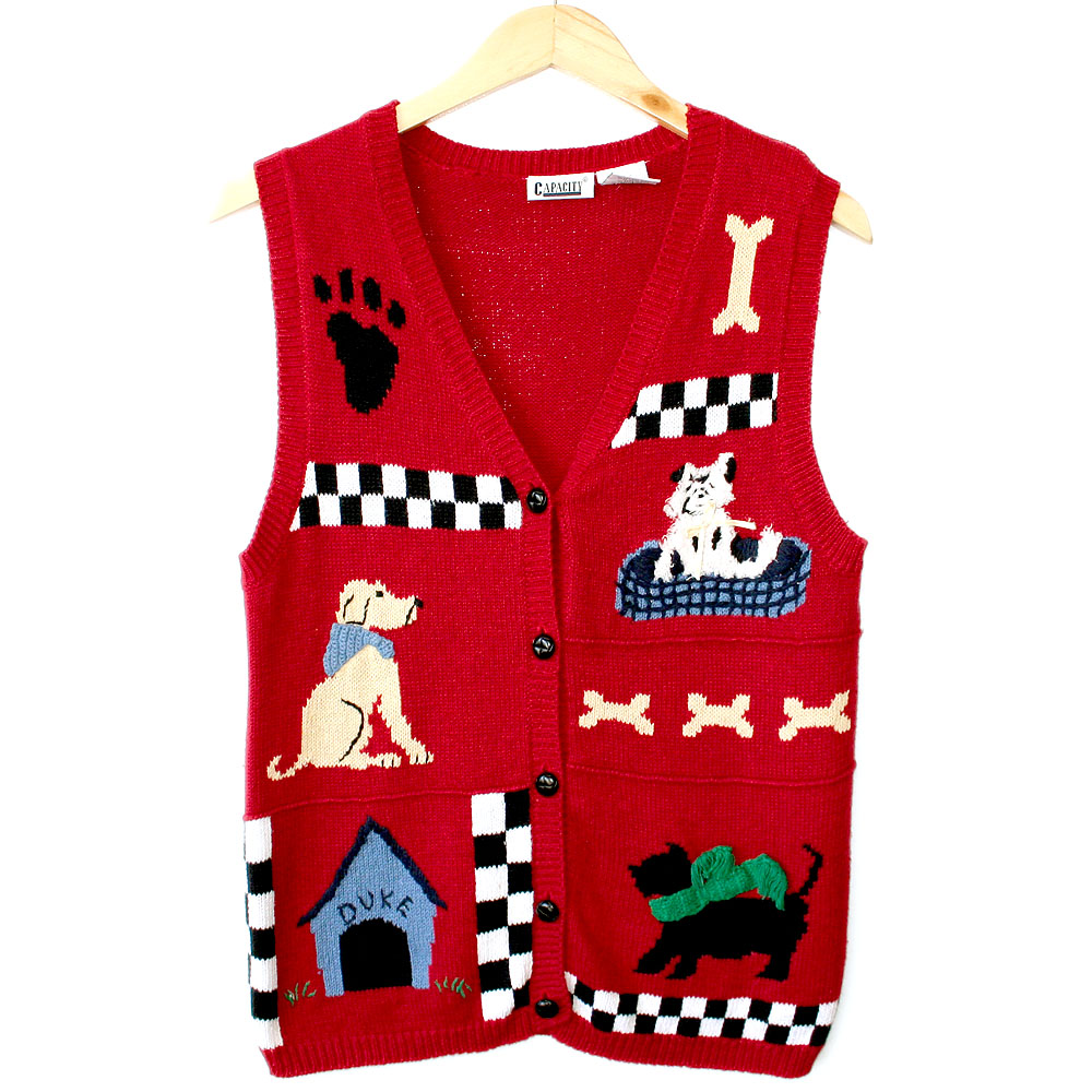 Dogs in Sweater Vests Dog Theme Ugly Sweater Vest