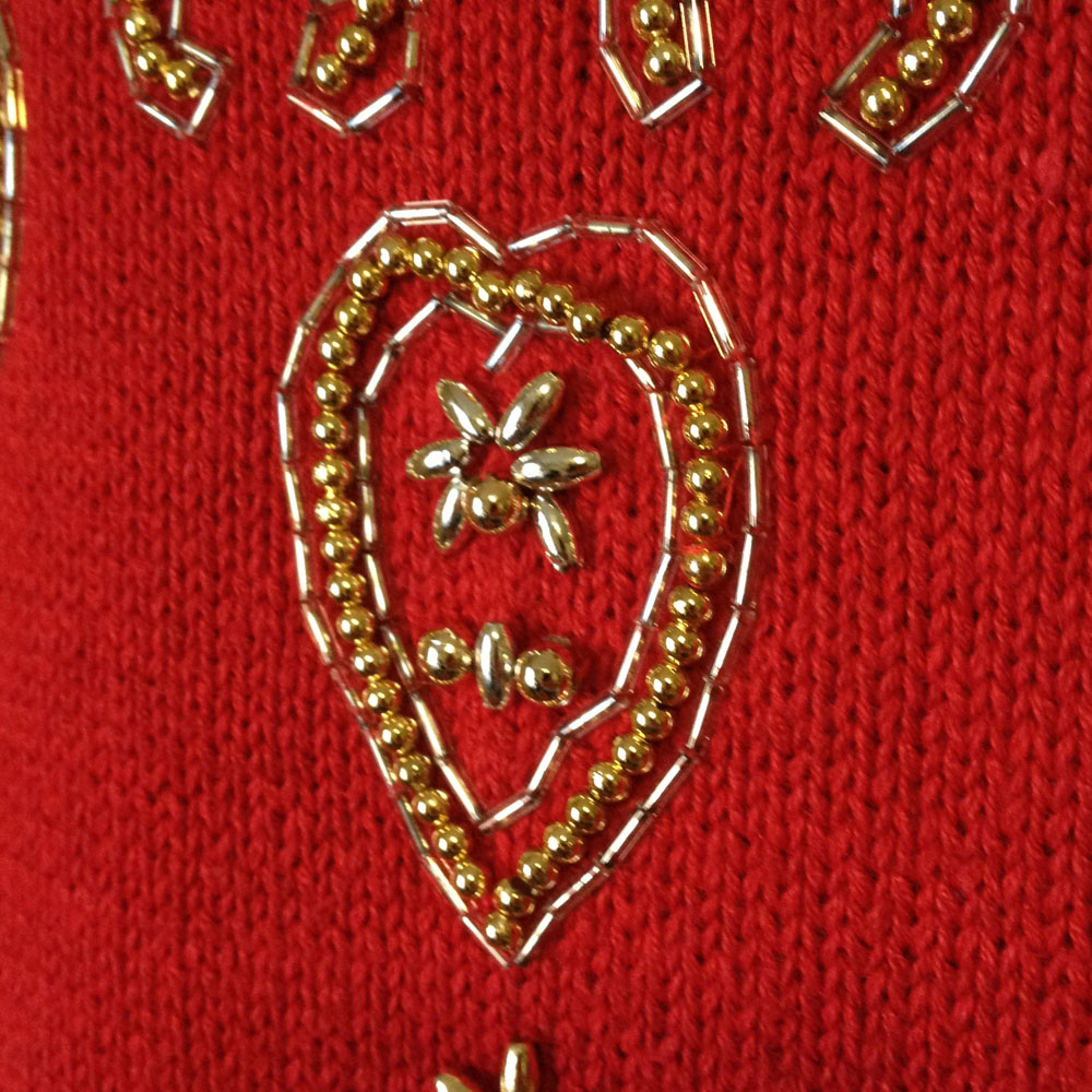 Vintage 90s Gold Beaded Red Tacky Ugly Christmas Sweater ...