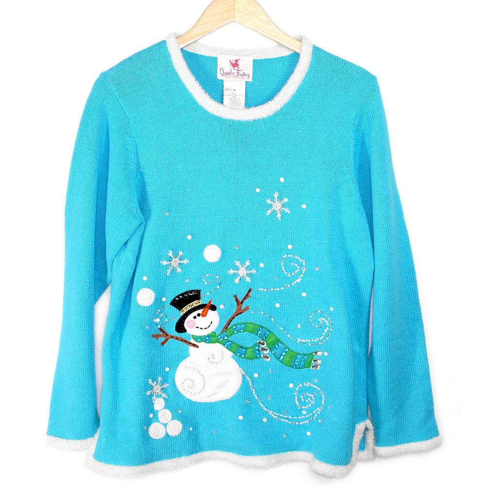 Quacker Factory Snowman Light Up Ugly Christmas Sweater