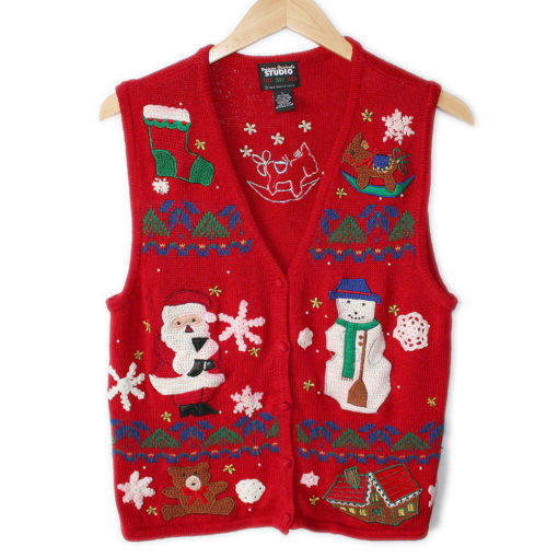 Mens Ugly Christmas Sweater Vest Xl Sweater Grey