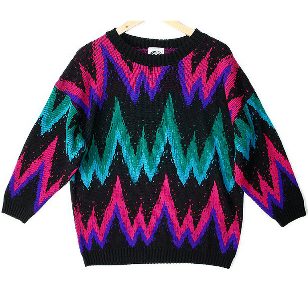 Vintage 80s Zig Zag Tacky Ugly Sweater