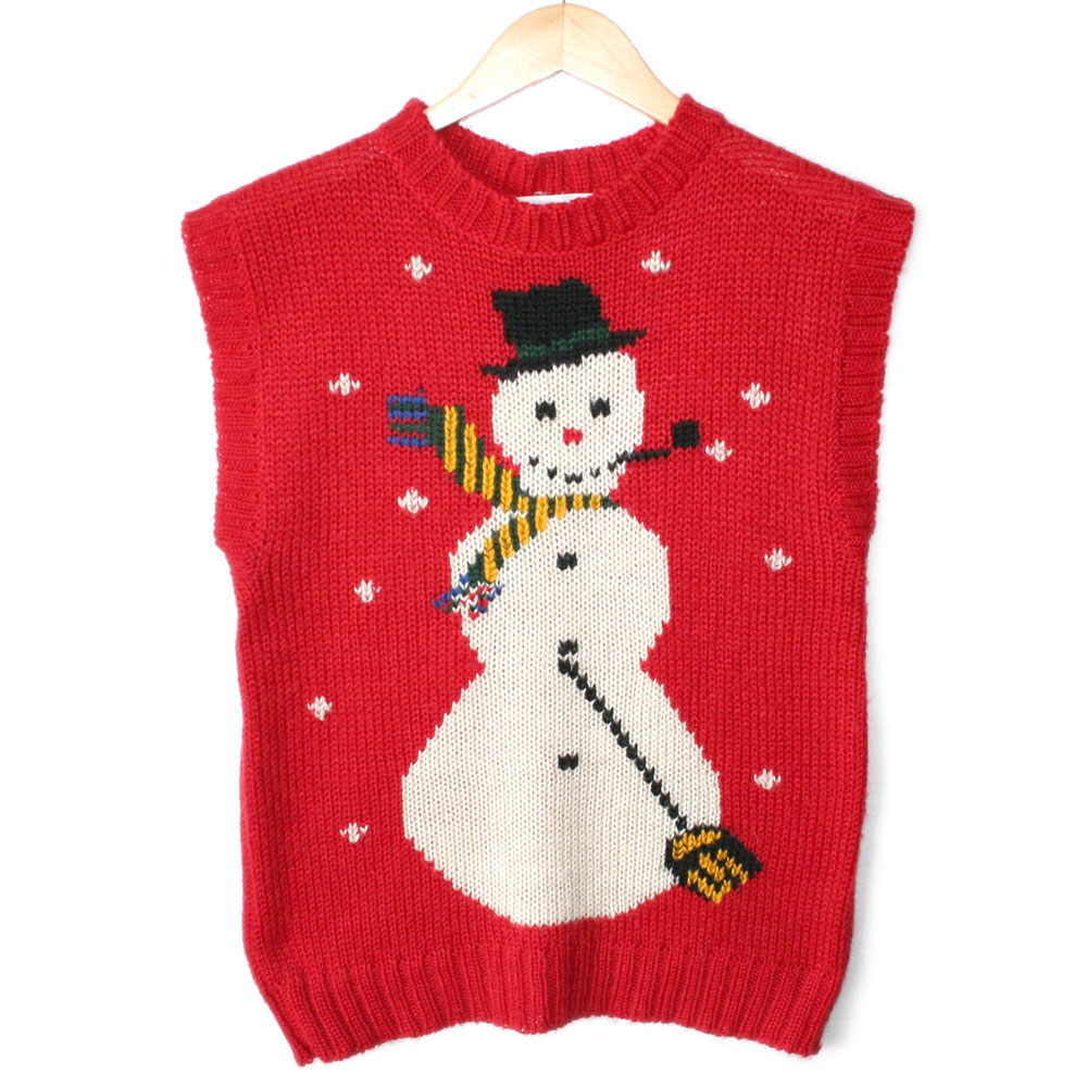 Vintage Chunky Knit Snowman Acrylic Ugly Christmas Sweater Vest - The Ugly Sw...