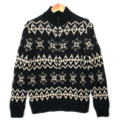 Black and Cream Zip Front Ugly Ski Sweater