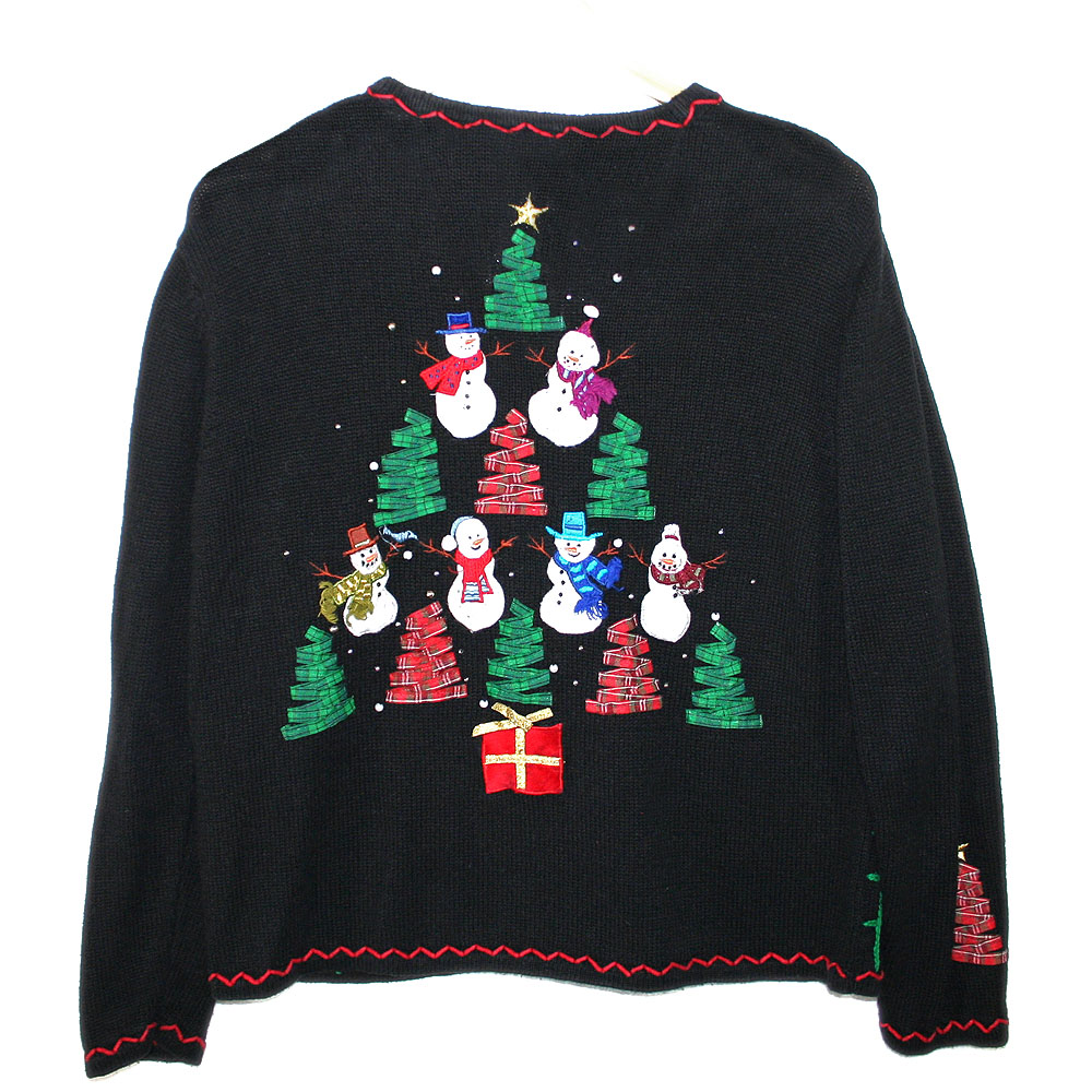 Trees and Snowmen Tacky Ugly Christmas Sweater - The Ugly Sweater Shop ...