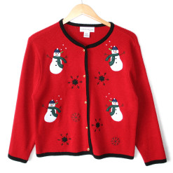 Snowmen and Black Snowflakes Ugly Christmas Sweater