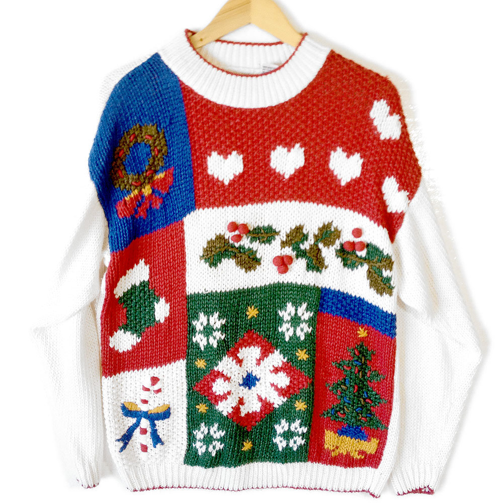 Vintage 80s Chunky Knit Ugly Christmas Sweater - The Ugly ...