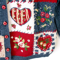 Hearts and Roses Patchwork Ugly Valentines Sweater