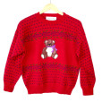 Vintage 80s 8-Bit Hearts Teddy Bear Tacky Ugly Sweater