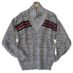 Overlap Collar Heathered Gray Men's Ugly Ski Sweater