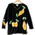 Quacker Factory Oversized Saggy Pears Fruit Ugly Sweater