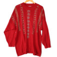 Red Plus Size Longer Length Ugly Gem Sweater