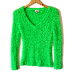 Shaggy Muppet or Easter Grass Bright Green Hairy Ugly Sweater
