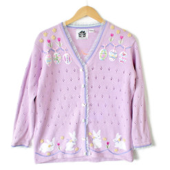 Storybook Knits Easter Bunnies and Eggs Tacky Ugly Sweater