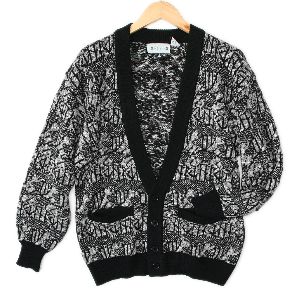 Vintage 80s black amp white cosby cardigan ugly sweater the ugly