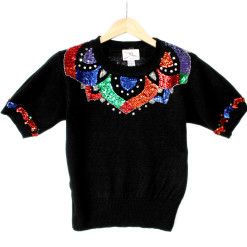 Vintage 90s Short Sleeve Tacky Ugly Gem Sweater