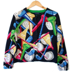 Balls & Tees Women's Tacky Golf Cardigan Ugly Sweater