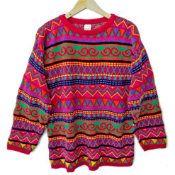 Crazy Bright Tribal Aztec Tacky Ugly Cosby Sweater