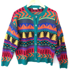 Tribal Aztec Christmas Trees Cosby Cardigan Ugly Sweater