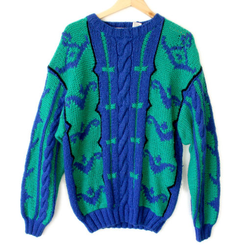 Vintage 80s Big Cable Knit Ugly Sweater - The Ugly Sweater ...