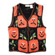 Sad Blockhead Pumpkins Tacky Halloween Ugly Sweater Vest