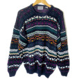 Tribal Aztec Cotton Blend Oversized Slouchy Ugly Ski Sweater
